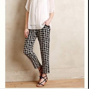 Anthropologie Hei black and cream pant